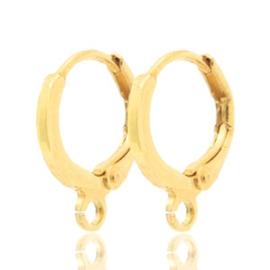 2 stuks DQ metaal sluitbare oorhangers met oog Goud (nikkelvrij) ca. 11.5mm (Ø1mm)