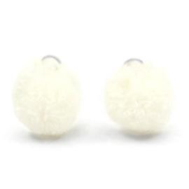 2 x Pompom bedel met oog zilver 15mm Cream white