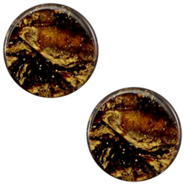 1 x 12 mm platte cabochon Polaris Elements Stardust Dark smoke topaz
