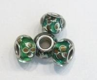 Per stuk Glaskraal European-style groen met bruine bloemen 13 mm