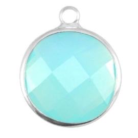 Crystal glas hanger rond 16mm Aqua blue opal-Silver