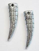 10x Antiek zilveren kunststof hanger Haaientand 32 mm