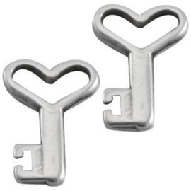 10 x DQ metaal bedel sleutel Antiek Zilver 13x9 mm