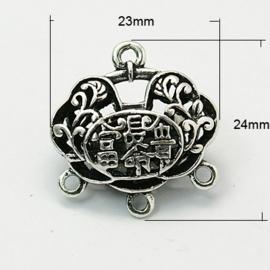 Prachtige Bali Style tusselzetsel 24 x 23 x 10mm Gat: 2mm