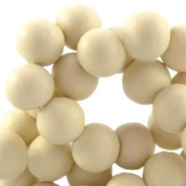 20 keer ronde houten kraal 6mm Hay beige