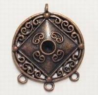 Per stuk Antiek koperen hanger met 3 ogen 36 mm