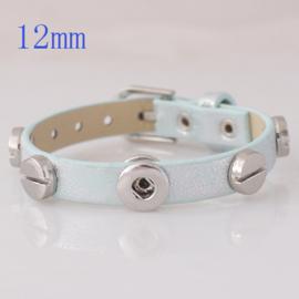 armband zilverblauw met gesp 24 cm