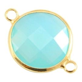 Crystal glas tussenstukken rond 16mm Aqua blue opal-Gold