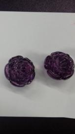 5x Luxe kunststof kraal roos paars 25 mm Gat: 3 mm