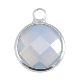 Crystal glas hanger rond 12mm Light grey opal-Silver