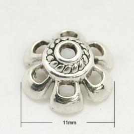 10 stuks schitterende tibetaans zilveren kralenkapjes 11 x 4,5mm gat 1,5mm