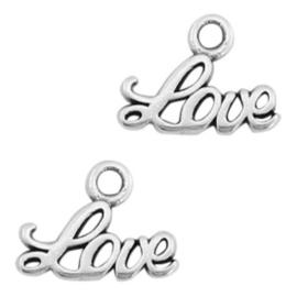 """2 x Bedels DQ metaal """"LOVE"""" Antiek zilver"""