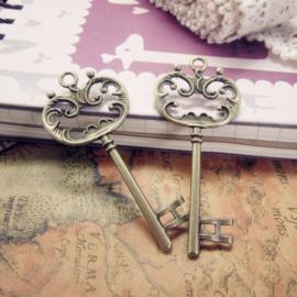 2 x Tibetaans zilveren sleutelgeel koper 69x30mm