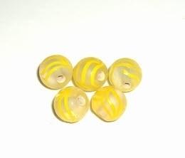 10 x Glaskraal rond 9mm geel
