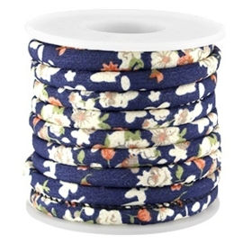 20 cm Trendy gestikt koord bloemetjes 5.5 x 4mm donkerblauw