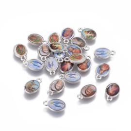 10 stuks Reli bedeltjes ovaal platinum kleur 12 x 7,5 x 2mm, oogje 1,4mm