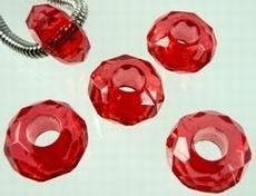 10 stuks European Jewelry bedel kunststof facet Rood 14,5 mm gat: 5,8mm