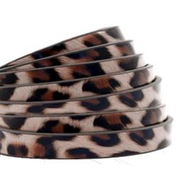 1 meter plat 5mm imi leer leopard print Taupe