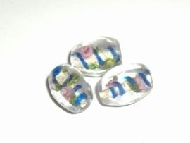 4 x Glaskraal ovaal 12x10mm transparant met blauw en roze bloem