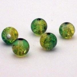 30 stuks crackle glas kralen 8mm licht groen geel