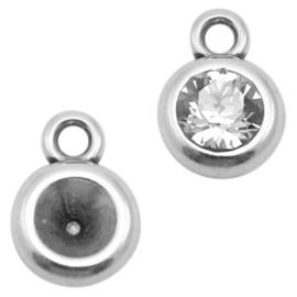 4 x  Settings DQ metaal rond 1 oog voor SS24 Antiek zilver (nikkelvrij) (voor puntsteen SS29 c.a. 5,2mm)