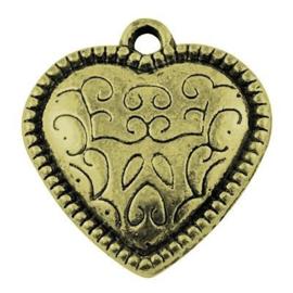 5 x Antiek Brons Bedel Hart 22x20 mm