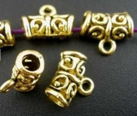 Tibetaans zilveren hanger bails 11 x 9 x 5,5mm oogje: 2mm goudkleur