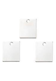 2 x  metalen naamlabel hangers/bedels rechthoek 19x16mm nikkelkleur