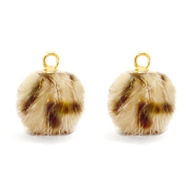 Nieuw! Pompom bedels Faux fur leopard Goud Light brown (op = op!)