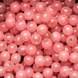 15 stuks  glaskralen opaal soft pink 8mm