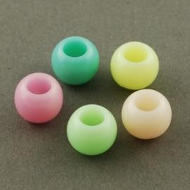 15 stuks Jelly style siliconen kralen mix 10 x 8mm gat: 5mm  assortiment
