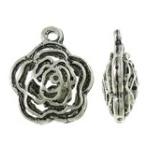3D Tibetaans zilverenroos hanger erg mooi! Bali style 19 x 23 x 9mm, gat: 2,5mm