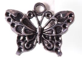 5x Prachtige tibetaans zilveren vlinder 19,3 x 24,8mm oogje: 2,5mm