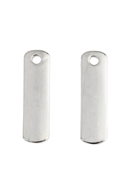 2 x Metalen naamlabel hangers rechthoek 22x6mm nikkelkleur