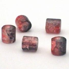 30 stuks crackle glas kralen cilinder vorm 7 x 8mm grijs rood