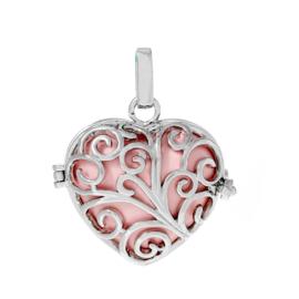 Engelenroeper hanger met klankbol roze in de vorm van een hart