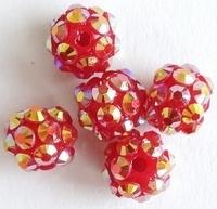 1 x prachtige Shamballa Resin strass ballen 8 x 9,5mm gat: 2mm rood