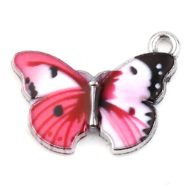 2 x metalen vlinder bedel epoxy 20 x 15mm oogje: 1,7mm