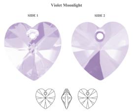 3x Prachtige glas facet Hanger hart lila  10mm