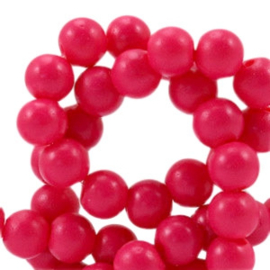 10 x 6 mm glaskraal half mat Raspberry pink