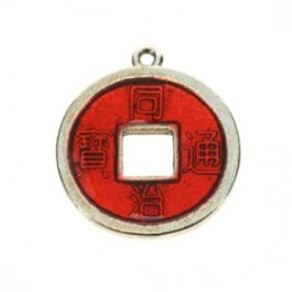 2 x Chinese geluksmunt emaille 20 x 23mm oogje: 1,5mm rood