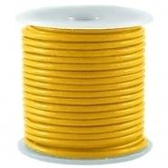 50cm DQ Leer rond 2 mm Sulphur geel