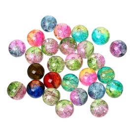 30 x mooie mix ronde crackle glaskralen van 8mm