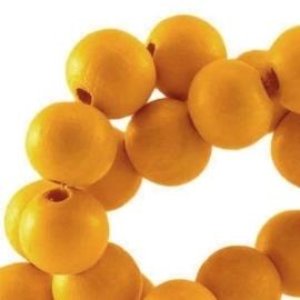 10 x Houten Kralen Rond 8 mm Citrus geel
