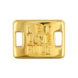 1 x Bedels DQ metaal tussenstuk LET LOVE RULE Goud ca. 20x15mm (Ø5x2.1mm)