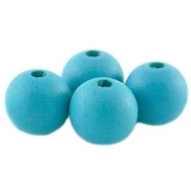 10 x Houten Kralen Rond 12mm kraal Azuur Blue Curacao (Azuur Blauw)
