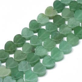 2 x hart kraal van groene Aventurijn  10 x 10 x 5mm gat: 1,5mm