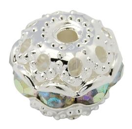 Verzilverde kristal ballen 6mm kristal AB