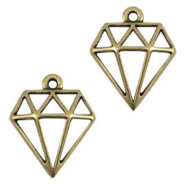 DQ metalen bedels diamant Antiek brons (nikkelvrij)  ca. 18x16mm (Ø1.2mm)