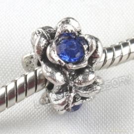 Prachtige European Jewelry  kraal met bergkristal 12x12x9mm  gat: 4,5mm blauw